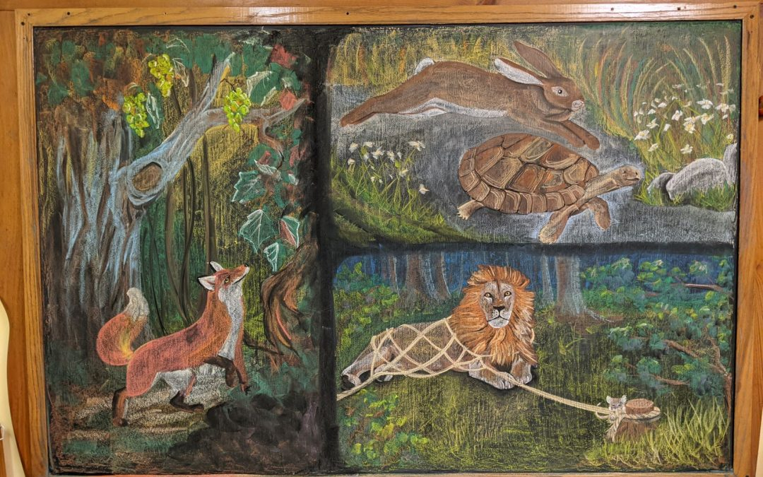 2nd Grade Fables Chalkboard Drawing