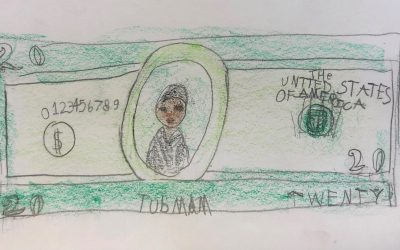 Weekly Photo: Harriet Tubman $20 Bill, 3rd Grade Drawing