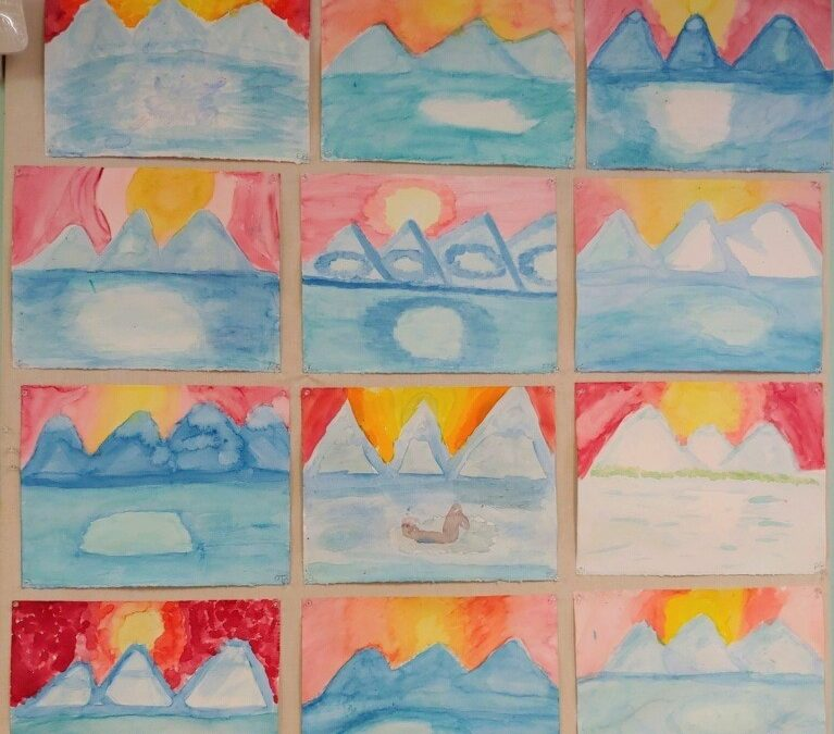 4th Grade Paintings, Land of the Midnight Sun