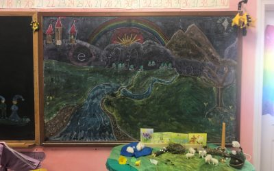 Weekly Photo: 1st Grade Chalkboard and Nature Table